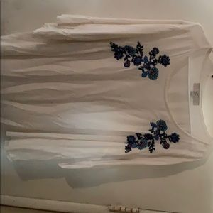 Loft - Embroidered Blouse Gently Worn